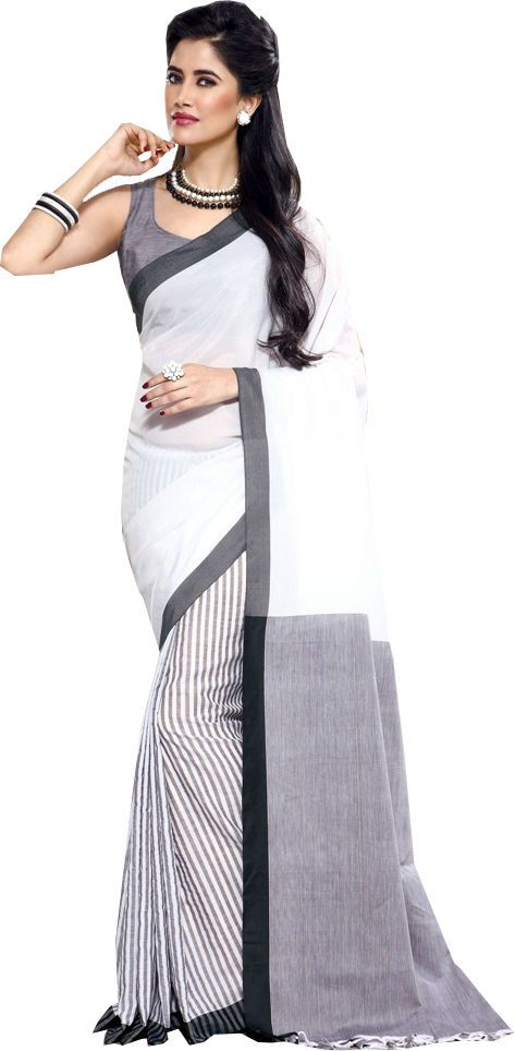 White Causal Wear Saree Designer Work Printed Skirt Cotton Sari #SareeStudio #SareeSari #CausalWear