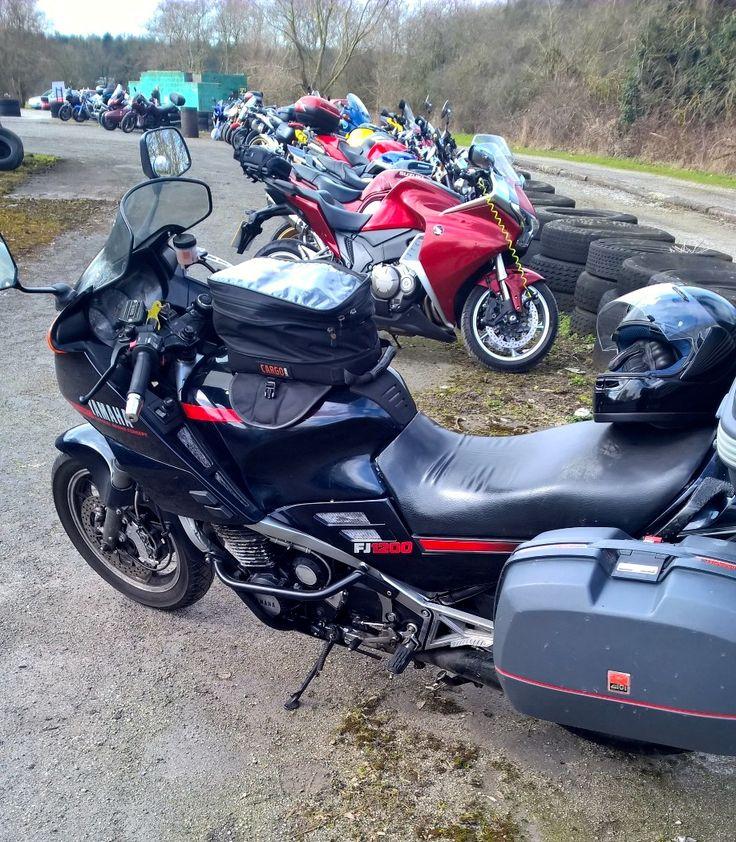 Jon's bike nicknamed by the family as Thunderbird 1 at Darley Moor Circuit.