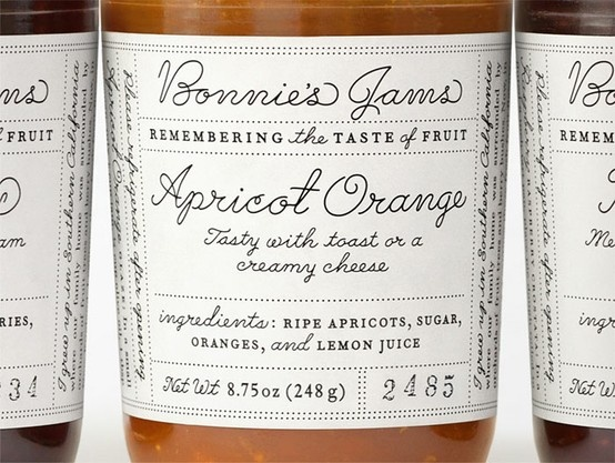 (bonnie's jams, via sacramento street): Louise Fili, Scripts Fonts, Bonnie'S Jam, Packaging Design, Graphics Design, Products Design, Jam Labels, Bonnie Jam, Louis Fili
