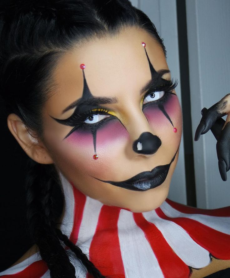 """6,437 Likes, 498 Comments - Tina Kosnik (@tinakpromua) on Instagram: """"The braids made it for me new tutorial on my FAVORITE FAVORITE clown makeup Halloween look …"""""""