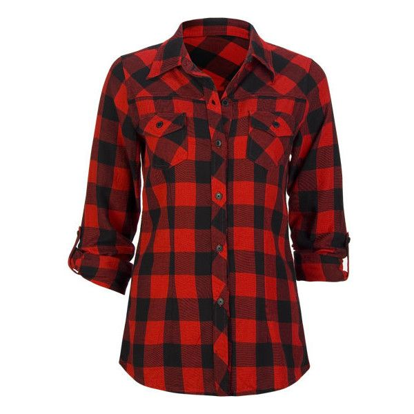 FULL TILT Buffalo Plaid Womens Flannel Shirt | ❤ liked on Polyvore featuring tops, shirts, plaid, t-shirts, print shirts, long sleeve shirts, red top, flannel shirt and red buffalo plaid shirt