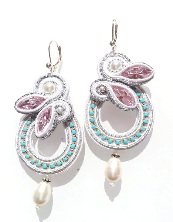 Bridal SOUTACHE earrings,Handmade Jewellery.Pink Swarovski crystals.