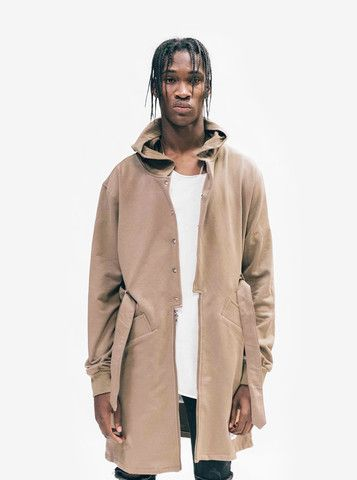 desert sand hooded elongated trench french terry cotton