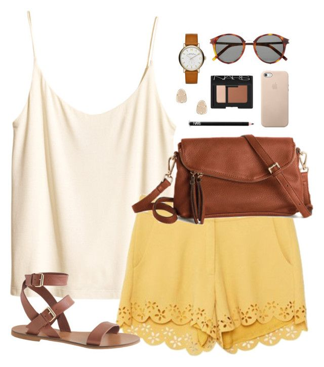 scalloped shorts by classically-preppy on Polyvore featuring H&M, J.Crew, Marc by Marc Jacobs, Kendra Scott, Yves Saint Laurent and NARS Cosmetics