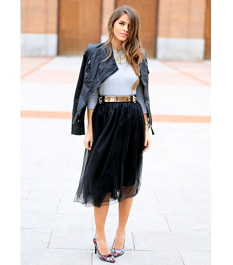 @Who What Wear - Jessie Chanes of Seams for a Desire  For the ultimate contrast, throw on an edgy leather jacket and metallic belt.  On Chanes: Ohkko via Buylevard skirt; Lulu's jacket; Zara sweater; ASOS belt; Lovely Pepa x Krack heels.