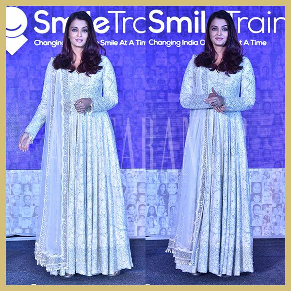 Aishwarya Rai Bachchan in white and silver Manish Malhotra anarkali dress, The Smile Foundation Event, Appearances