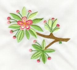 2-Sided Embroidery, Back of the Apple Blossoms by Tanja Berlin: Berlin Embroidery Designs. Surface embroidery stitched so that the back looks the same as the front.