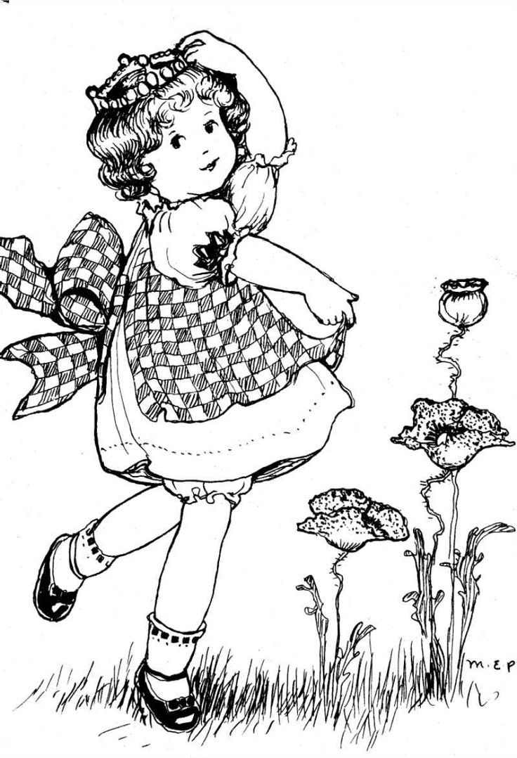 vintage coloring pages of children - photo#17
