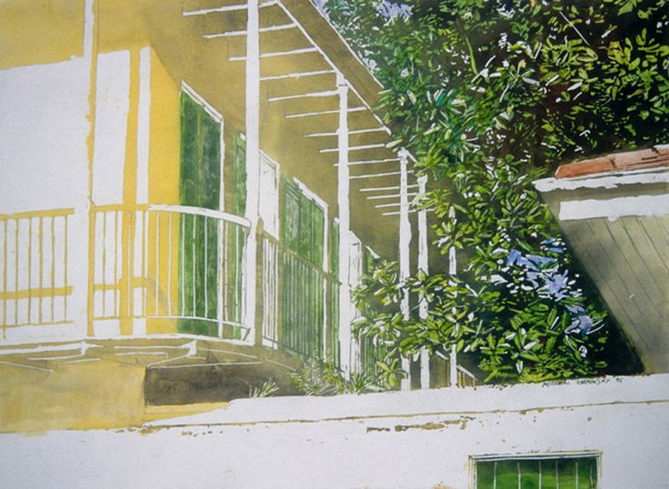 "carriagehouse new orleans  16"" x 22""   micheal zarowsky - watercolour on arches paper available 850.00 (unfr)"