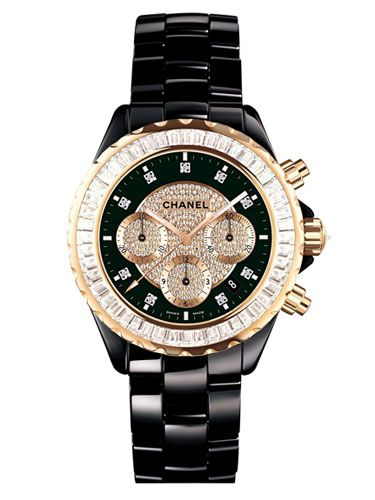 #chanel black and gold watch