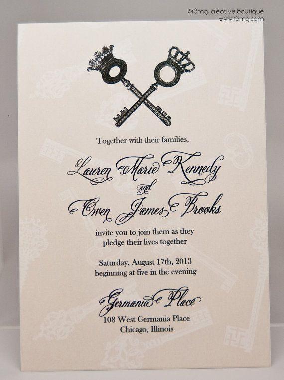 skeleton key vintage wedding invitations - 28 images - vintage ...