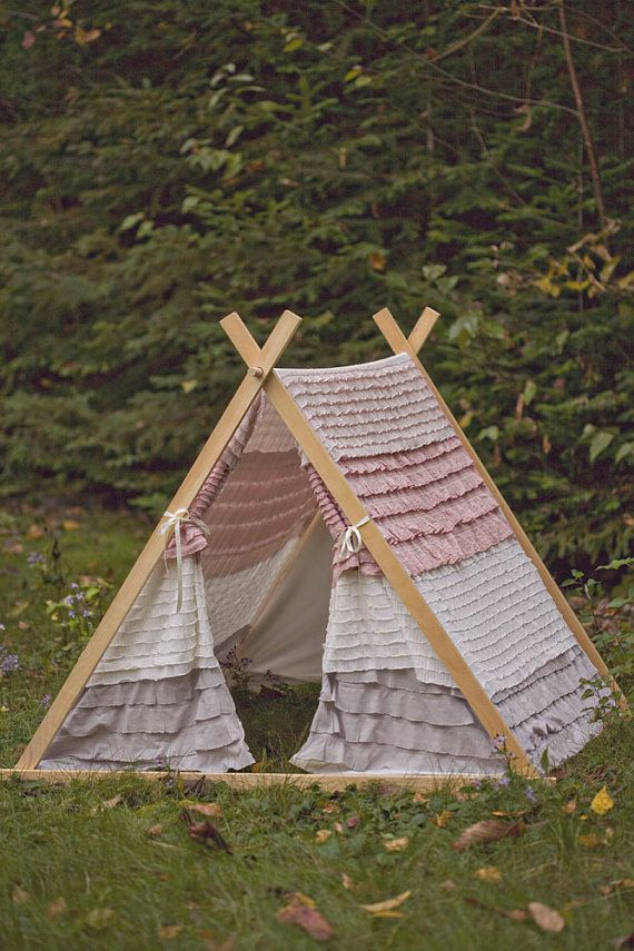 Kids AFrame Ruffle Teepee Play Tent by TeepeeandTent on Etsy