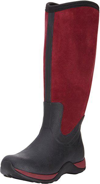 Muck Boots Arctic Adventure Zip Suede, Women Warm Lining Rain Boots, Black  (Black
