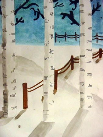 """We began by drawing a horizon line and using a ""wet on wet"" technique with watercolors for the sky. While the paint was still wet, salt was dropped into the paint to absorb the color and create the unusual background. The birch trees were created with white paper and fine point sharpie. All shadows were cast by using thinned down black watercolors. We discussed how to create depth by placing the fenceposts at various places on the picture plane"""