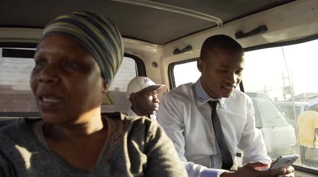 Wonderboy Siphamandla Ndwonde in the taxi on his way to the Lion of Africa offices