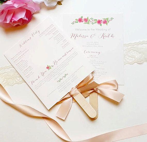 DIY Wedding Fan Printable Program Kit With Choice Of