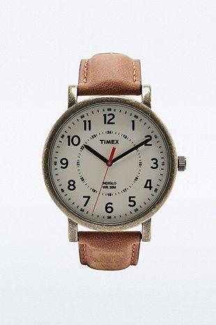 Timex – Uhr mit hellbraunem Armband und Kompassdesign - Urban Outfitters