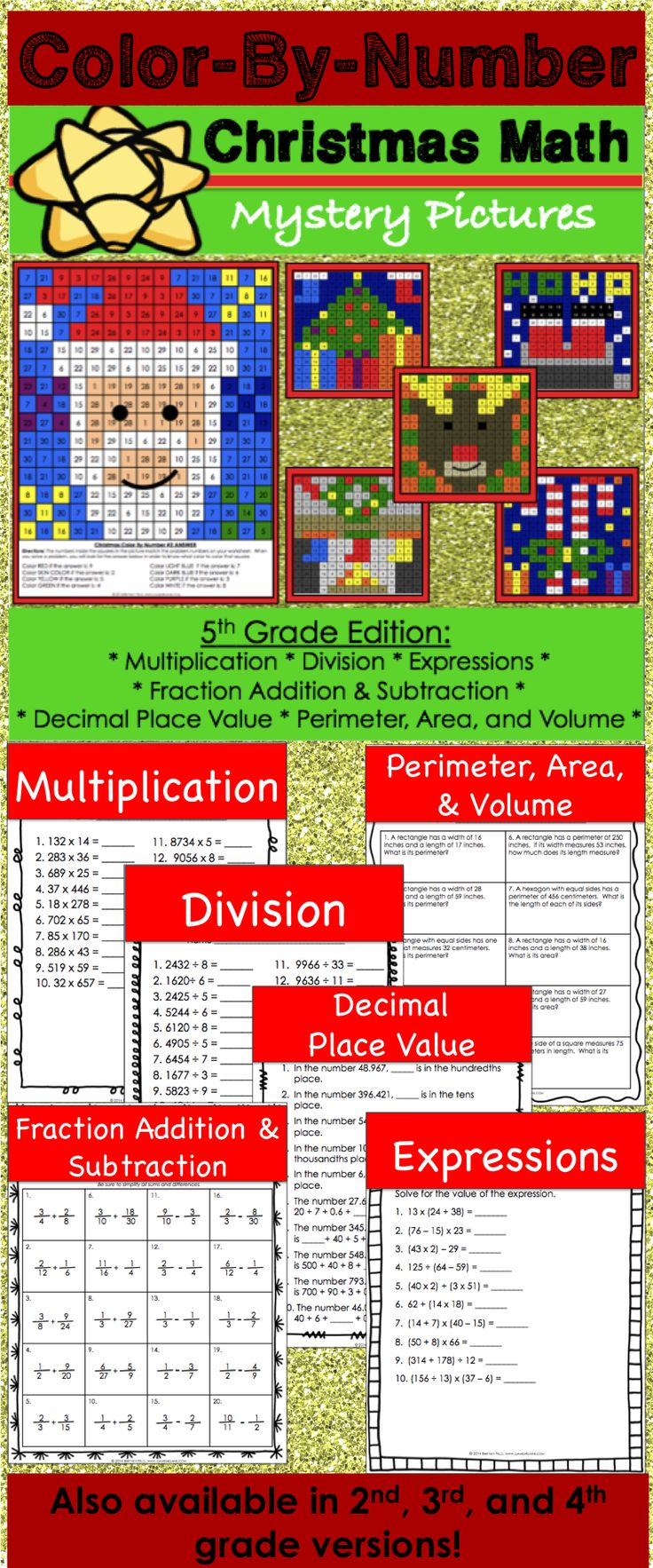 Christmas Math Activity (Color by Number) for 5th grade makes practicing multiplication, division, decimal place value, fraction addition, fraction subtraction, perimeter, area, volume, and evaluating expressions fun! Included are 6 different Christmas color by number math activities. Each activity addresses a different 5th grade math skill.