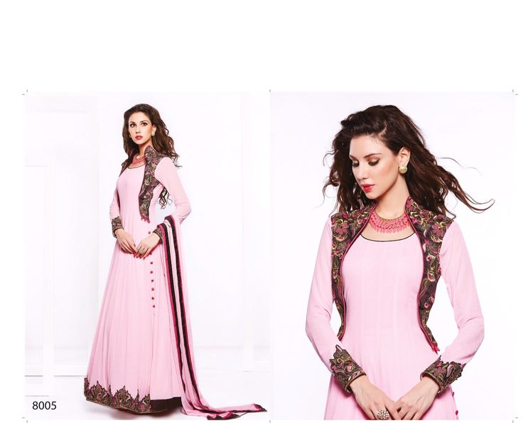 Latest # #PakistaniStyleSuit #FauxGeorgette #Dressmaterials with Santoon Bottom and Chiffon Dupatta included (Cat - 6008)