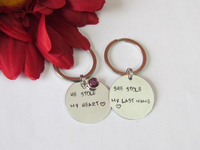 He Stole My Heart - His and Her Keychains-bridal shower gift,his her . Love this idea for his/her gift @ couples shower.