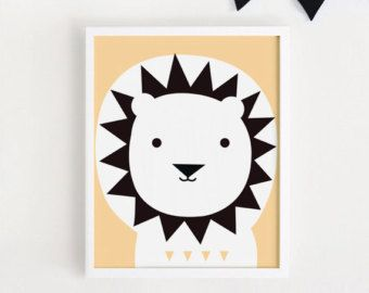 bebe Lion Poster Cute kawaii Printable art Kids animal illustration for baby boys room print nursery art children poster INSTANT DOWNLOAD