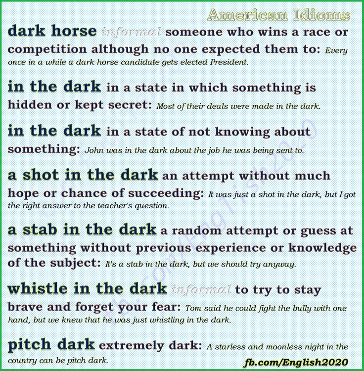 American Idioms with dark