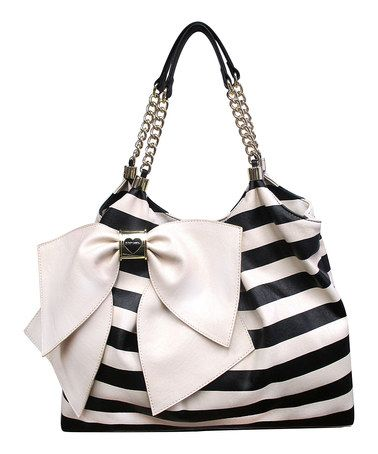 Look what I found on #zulily! Cream & Black Bowlicious Tote by Betsey Johnson #zulilyfinds