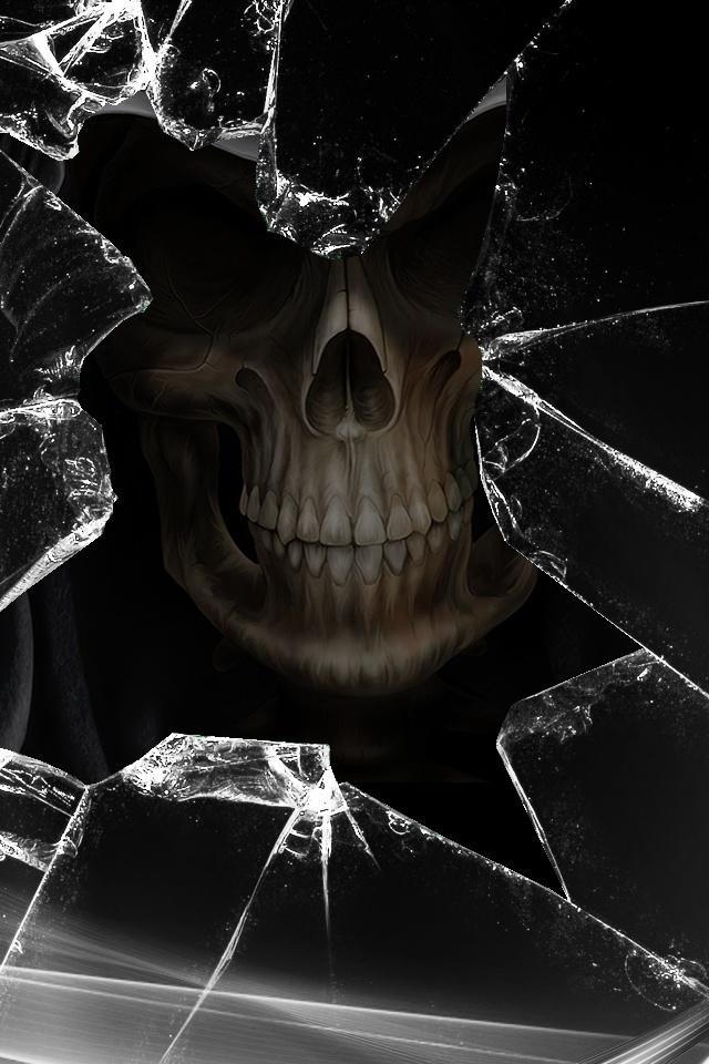 : Iphone Wallpapers, Iphone 4S, Skull, Crack Glasses, Dark Side, Broken Glasses, Black Glasses, Shattered Glasses, Happy Halloween