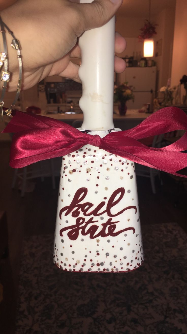 Sparkle polka doted hail state painted cowbell #hailstate