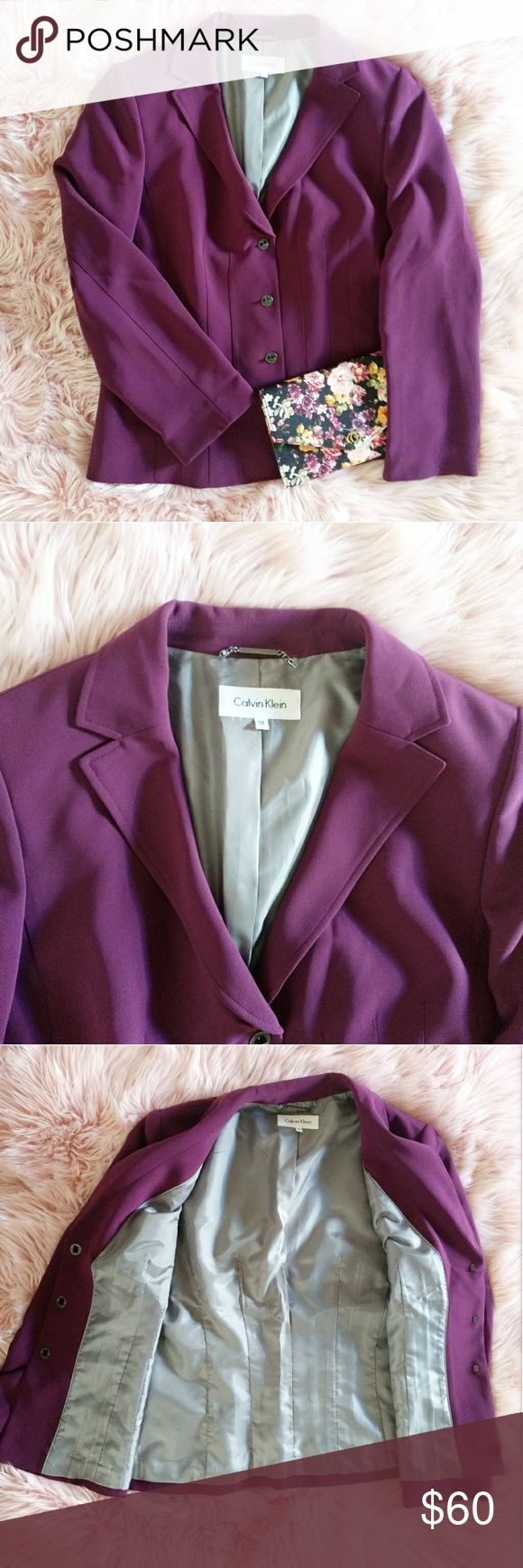 NWOT CALVIN KLEIN PURPLE BLAZER SIZE 14 Brand new without tag. Size: 14 Approx. Measurements: - Length: - Bust: - Sleeve: Material (shell & lining): 100% polyester Dry clean only. Calvin Klein Jackets & Coats Blazers