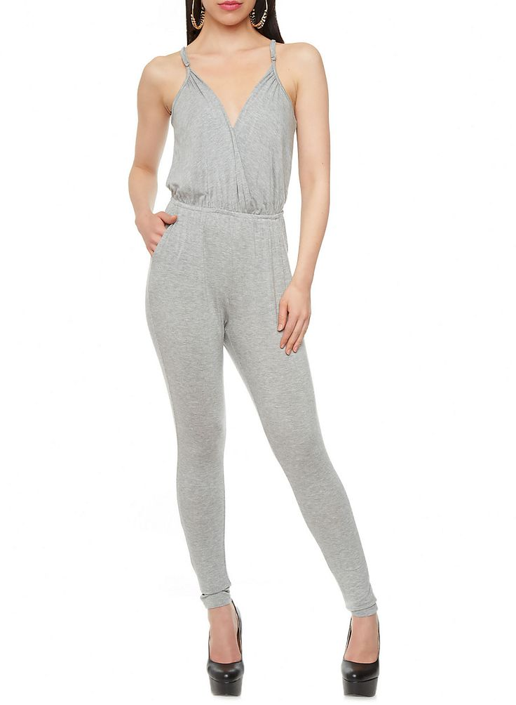 Rainbow Shops Keyhole Back Surplice Jumpsuit $17.97