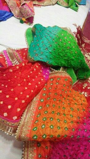 Pure silk shaded  bandhani dupptas.by Araina fabs mount abu .