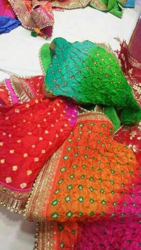 Pure silk shaded  bandhani dupptas.by Araina fabs mount abu .