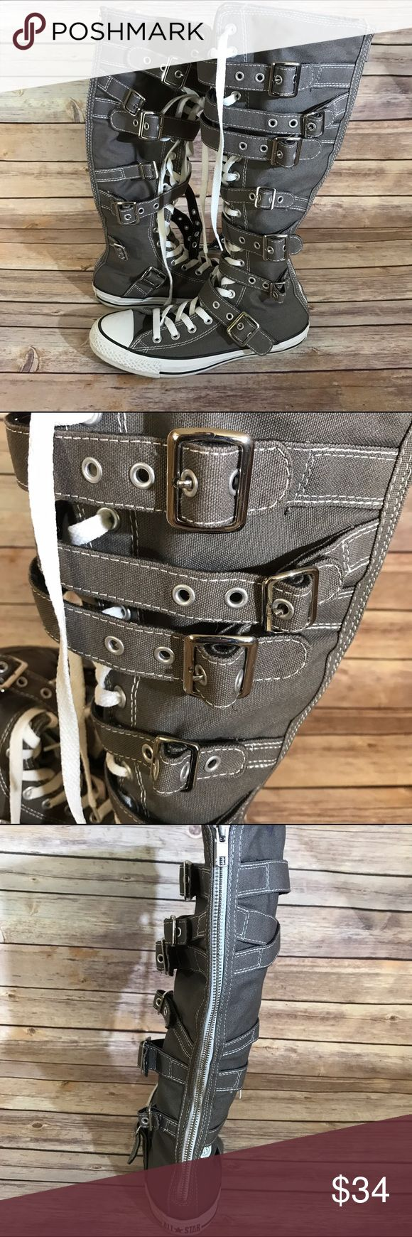Lace Up Knee High Converse • GREAT CONDITION! • Minor Stains on Laces • Knee High • Sz- 6.5 • Zippers Work Great!   Please review all photos to know exactly what you are purchasing. If I forgot anything, just tag me and ask!   No ️️ No Ⓜ️ No Trades Converse Shoes Sneakers