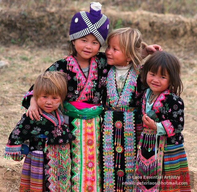 Laos Children ♥ Beautiful colorful dressed in traditional clothing