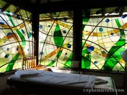 Stained glass enclosed massage room at Hotel Sol y Luna, Sacred Valley, Peru.