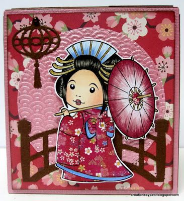 Creations by Patti: Asian Marci Tissue Box Holder  Face: E000, E00, E11, R11, R20  Hair: W2, W4, W6, W8  Fan: E34, R00, R32, R85  Kimono Trim and shoes: R85  Yuzen Printed Japanese paper pieced used for her dress