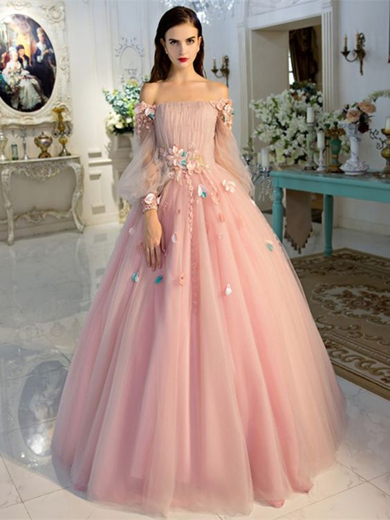 2fe625d5e Pink Off-the-Shoulder Floral Appliqués Ball Gown Prom Dress, Evening Dress,  Quinceanera Dress with Long Puffed Sleeves