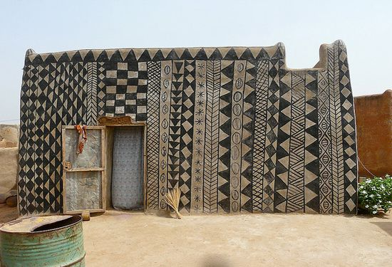 Geometric painted dwellings from the village of Tiébélé located in Burkina Faso, West Africa