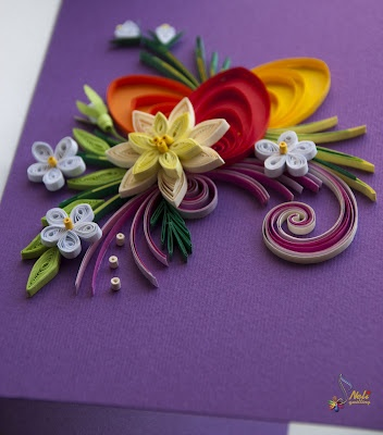 Quilling - quill art heart and flowers