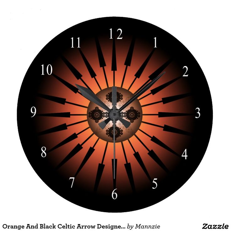 Orange And Black Celtic Arrow Designed Clock