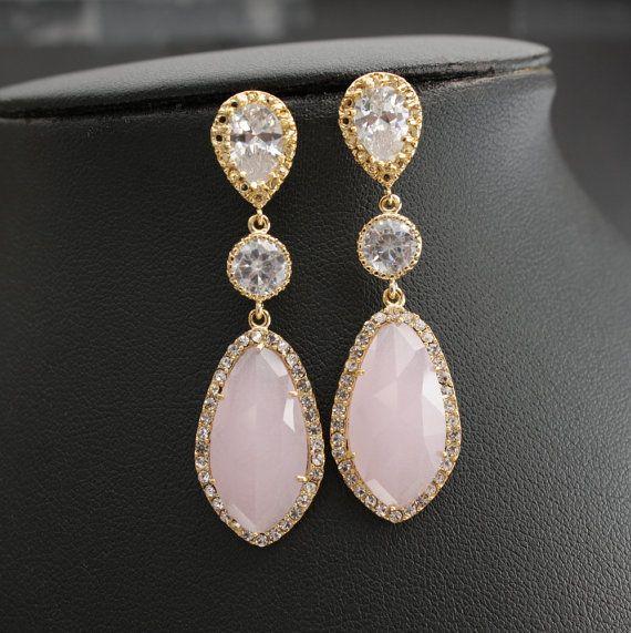 Wedding Jewelry Pink Earrings Bridal Earrings by poetryjewelry