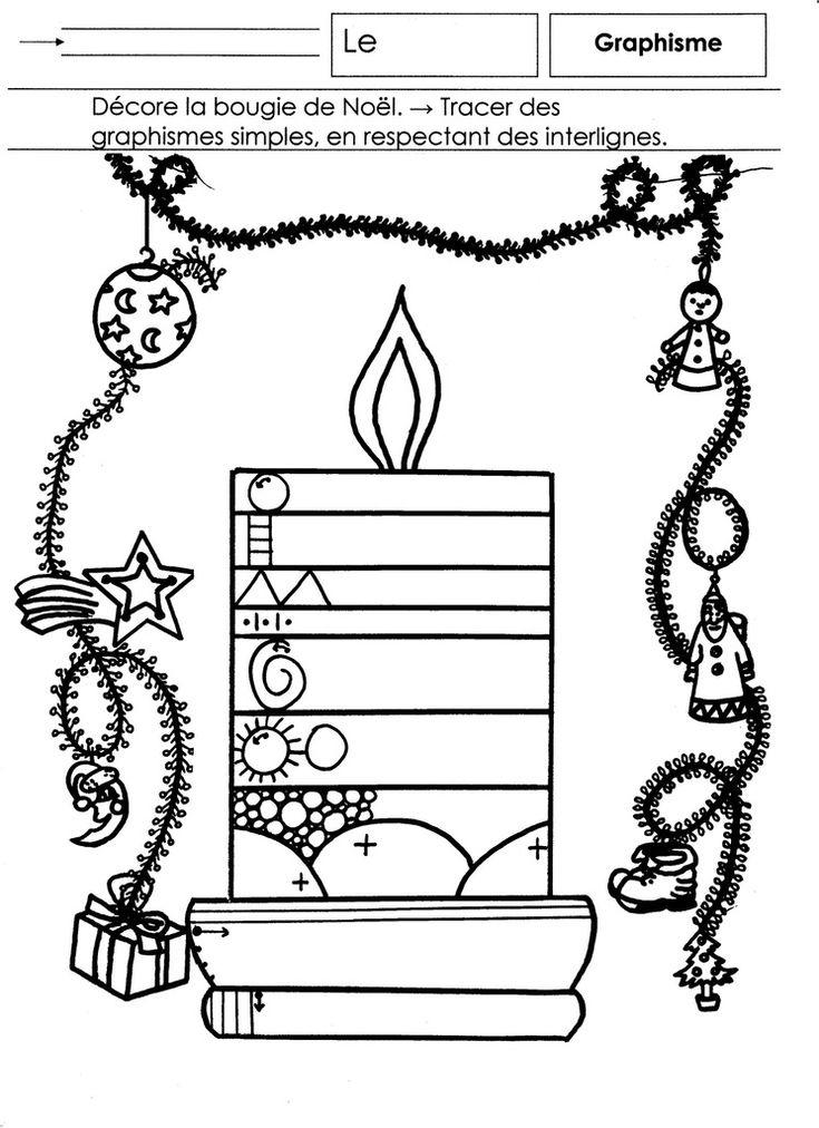GRAPHISME Noël, Moyenne Section: décorer une bougie. Tracer des signes graphiques simples en respectant des interlignes. Se référer aux points-flèches pour tracer les signes dans le bon sens en respectant les normes de l'écriture.  - graphisme MS.docx...