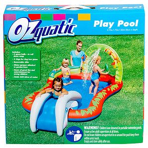 Fun for toddlers, the Ozquatic Interactive Play Pool is made of sturdy pre-tested vinyl and features a water sprayer, a removeable slide at one end and...