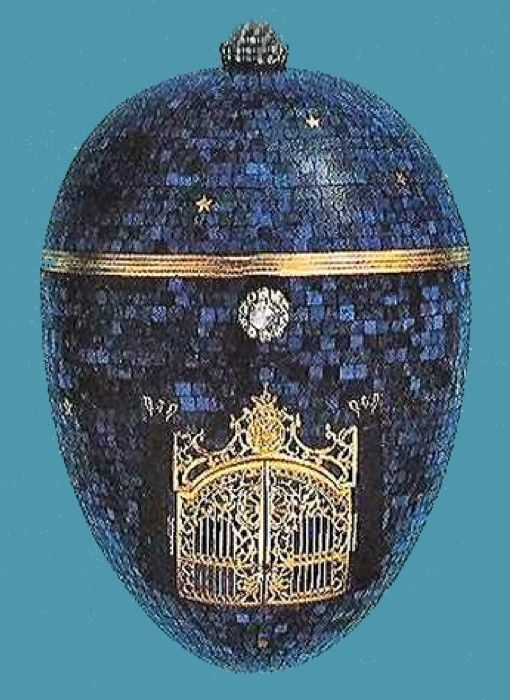 Absolutely beautiful!  The Twilight Egg (or The Night Egg), other Eggs, lapis lazuli, gold, diamonds, moonstone, paillons, enamel, carving, 1917. The back of the egg is set with a lapis lazuli Romanov Eagle, carved in relief above the date, 1917, inlaid in engraved gold, it was possibly made for a member of the Imperial Family. Private Collection