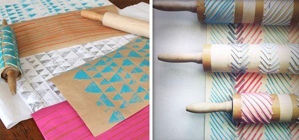 usar rodillo para estampar figuras en papel