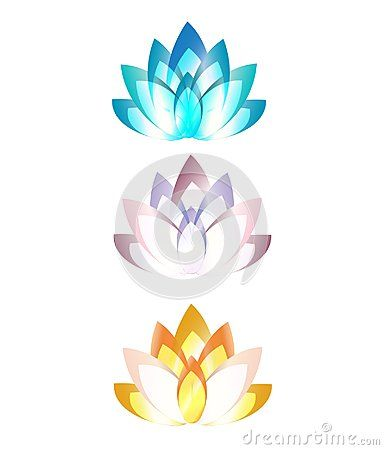 Various colored lotus logo symbol isolated vector.