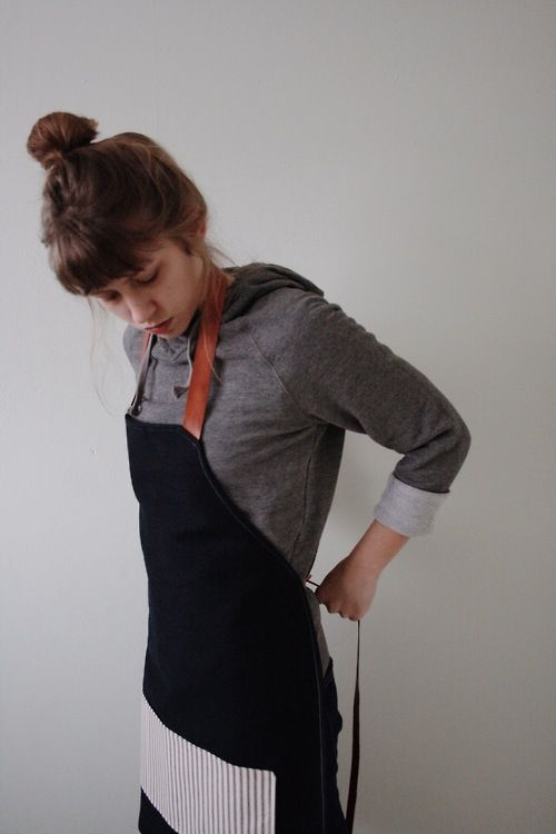 codiannthomsen:  Lagniappe x Lined Denim Apron with Leather...