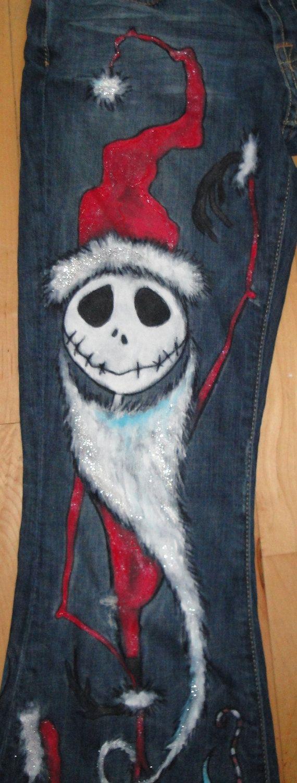 Custom painted Christmas Jack jeans For Kids by scatterbirdie