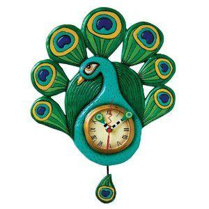 peacock kitchen decorations | ... com: Allen Designs PRETTY PEACOCK Pendulum Wall Clock: Home & Kitchen
